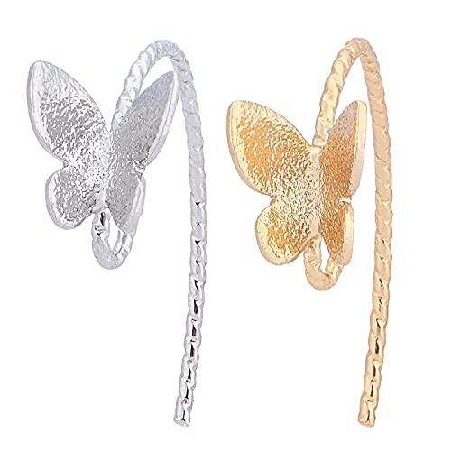 BENEREAT - 40 pendientes de mariposa chapados en oro real de 18 quilates (24,5 mm)