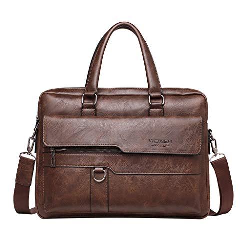 DAIFINEY Herren Business Umhängetasche Vintage PU Leder Premium Herrentasche Laptoptasche Schultertasche Kuriertasche Messenger Bag Mehrzweck Arbeitastasche Reisen Backpack(Kaffee)
