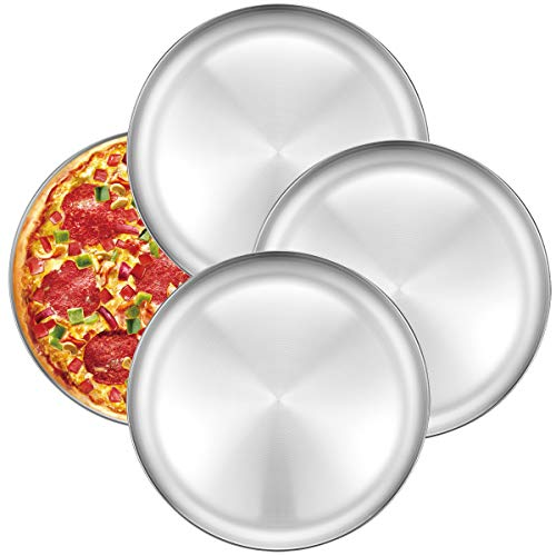 Pizza Baking Pan Pizza Tray - Deedro 12 inch Stainless Steel Pizza Pan Round Pizza Baking Sheet Oven Tray Pizza Crisper Pan, Healthy Pizza Cooking Pan for Oven Baking, 4 Pack