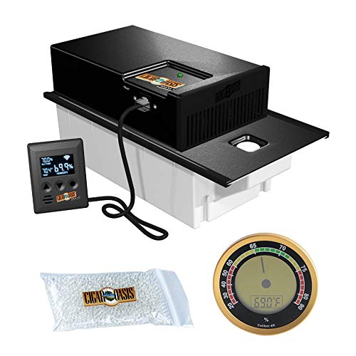 Cigar Oasis Magna 3.0 Electronic Humidifier for Large Cabinet Humidors with Digital Analog Hygrometer Bundle