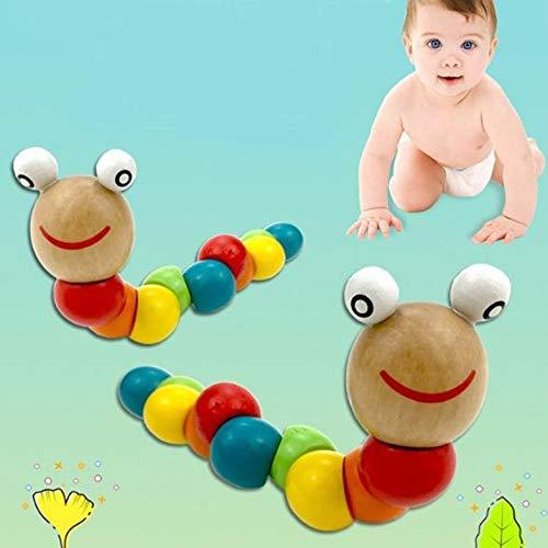 CamKpell Holz Twisty Wiggly Wurm Mehrfarbige sensorische Kinder Kinder Jungen Mädchen Bunte Holzwurm sensorische Holzperle Spielzeug - bunt