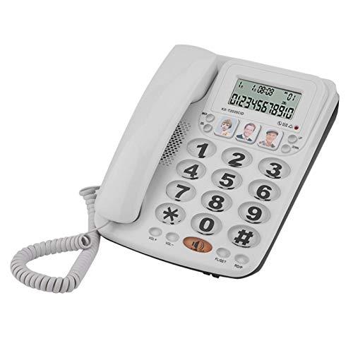FEBT Teléfono con Cable de marcación rápida, teléfono Fijo, Blanco para Oficina en casa