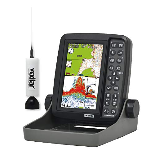 ホンデックス(HONDEX) 魚探 魚群探知機 ポータブルGPSプロッター魚探 GPS内蔵 5型ワイド PS-611CN-WP ワカサギパック 吊下げ型振動子 TD7