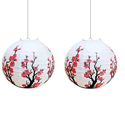 HLPIGF Flor de Ciruelo Chino (Paquete de 5) Linterna de Papel China Redonda Blanca LáMpara de Estilo Oriental Chino Regalo de DecoracióN del Hogar