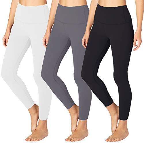 High Waisted Leggings for Women – Tummy Control Workout Running 4 Way Stretch Leggings- Reg & Plus Size (3 Pack Black, Dark Grey, White, One Size (US 2-12))