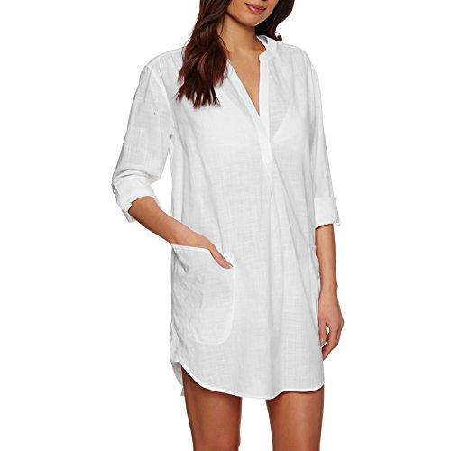 Seafolly Women's Boyfriend Shirt Cover Up, Beach Basics White, Large