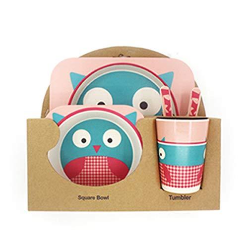 Ensemble de bambou à couverts 5 pièces pour enfants - comprenant des bols ronds en bambou pour la vaisselle des enfants Bols en bambou et tasses pour enfants - Matériaux naturels recyclables