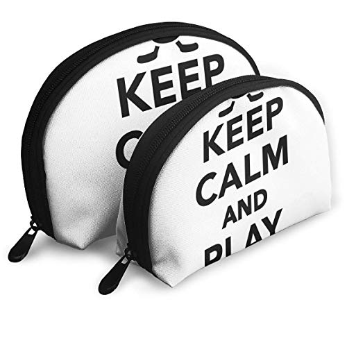Shell Shape Makeup Bag Set Tragbare Geldbörse Reise Kosmetikbeutel, bleiben Sie ruhig und Spielen Hockey Zitat mit Sticks in Schwarz-Weiß-Wettkampfsportarten, Frauen-Toilettenartikel-Clutch