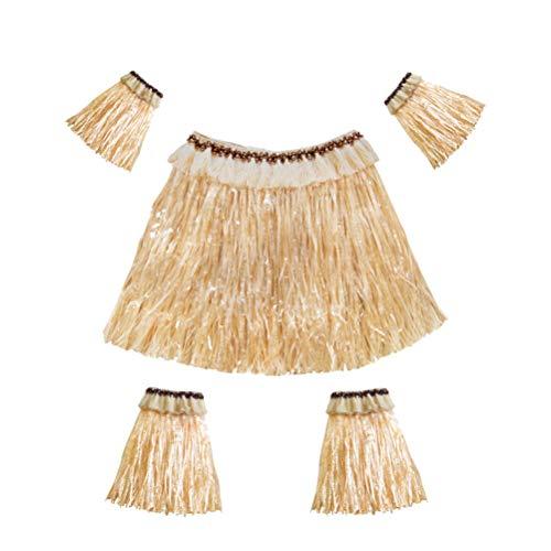 Amosfun Conjunto de Falda de Hierba Hawaiana Bandas para