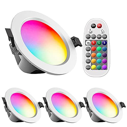 4er Faretti da incasso a LED, RGBW, 5W, 230V, CCT, bluetooth dimmerabile, Faretti da incasso da soffitto, 2700K-6500K con telecomando per soggiorno, camera da letto, cucina, KTV, bar