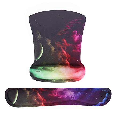 MOSISO Wrist Rest Support for Mouse Pad&Keyboard Set,Ergonomic Mousepad Non-Slip Rubber Base Home/Office Pain Relief & Easy Typing Cushion with Neoprene Cloth&Raised Memory Foam, Colorful Sky