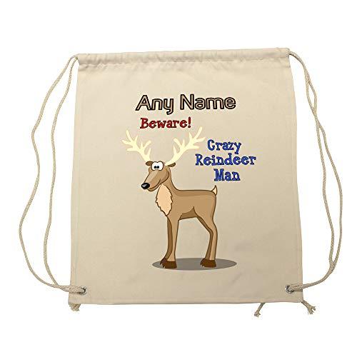 UNIGIFT Gepersonaliseerd geschenk - Crazy Reindeer Man Tas (Animal Slogan Design White) Elke Naam Bericht Uniek - Zoo Silly Leuke Grappige Nieuwigheid Wild Lover Rudolph Moose