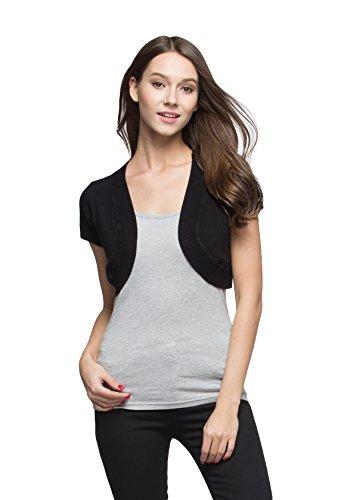 Sofishie Trendy Short Sleeve Shrug Open Cardigan - Black - XL