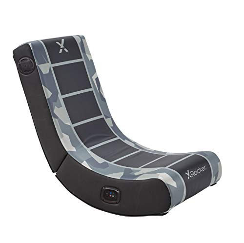 X Rocker, 5109001, Camo Retreat 2.0 Bluetooth Foldable Rocking Video Gaming Chair with 2 Speakers, 33.46 x 16.14 x 25.59, Gray Camo