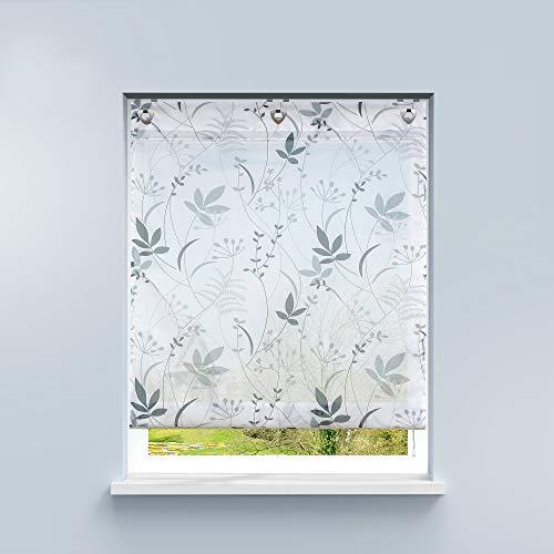HongYa Raffrollo ohne Bohren Voile Ösenrollo Transparente Raffgardine mit Hakenaufhängung Küche Vorhang Kleinfenster H/B 140/80 cm Blatt Muster