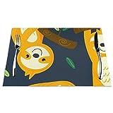 Kjlh - Set di 6 tovagliette con scritta in inglese 'Bradip' resistenti al calore, antimacchia, antiscivolo, per tavolo da cucina, lavabili e resistenti, in PVC, 6 pezzi