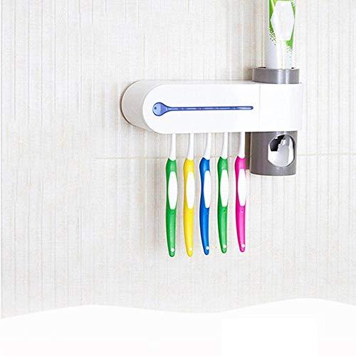 2 en 1 Brosse à dents UV Porte-brosse Lampe UV Dentifrice Squeezer Salle de bain,US