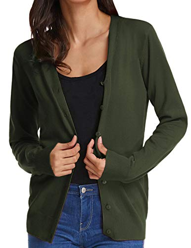 Women's Plus Size Knit Open Front Classic Basic Long Cardigan Sweater(XL,Army Green)
