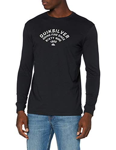Quiksilver Up To Now - Camiseta De Manga Larga para Hombre Camiseta De Manga Larga, Hombre, Black, L