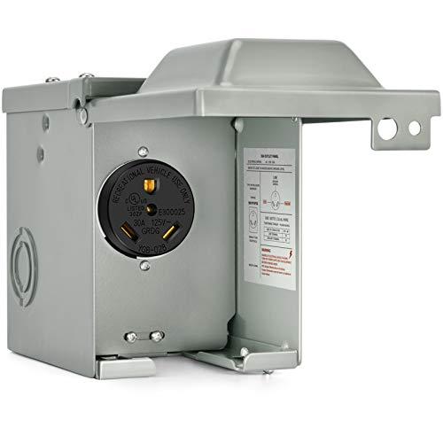 Kohree 30 Amp RV Power Outlet Box, 125 Volt Enclosed Lockable Nema TT-30R RV Outdoor Electrical Receptacle Panel, Weatherproof Plug for Temporary Hookup RV Camper Travel Trailer