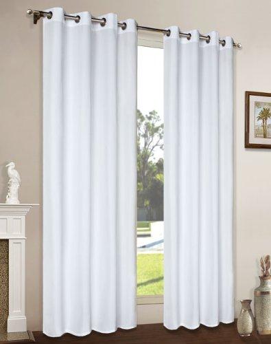 Vorhang Blickdicht Schal, 2 Stück 245x140 (HxB) Matte unifarbene Gardine mit Ösen, Weiß Material aus Microsatin Micofaser-Gewebe, 204050