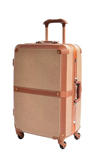 Medium Size Exclusive Metal Frame 4 Wheel Check-in Luggage Trunk Retro Suitcase Travel Bag AA601 Camel