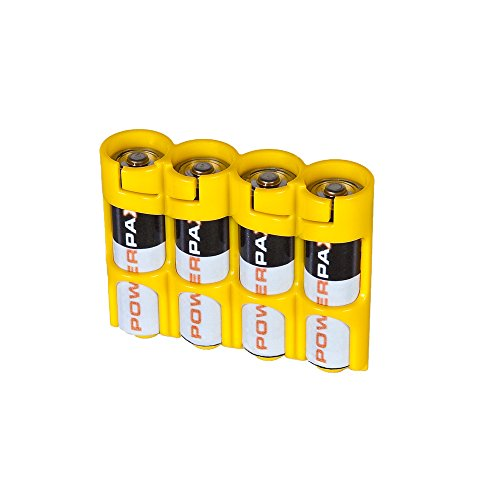 Storacell SLAACY by Powerpax SlimLine AA Battery Caddy Yellow, Holds 4 Batteries