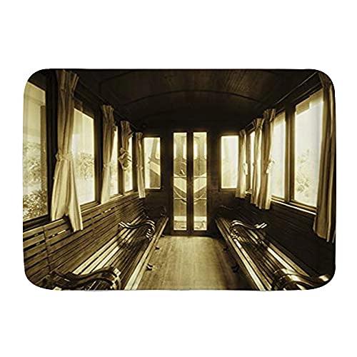 KASMILN Badematte,Vintage Zug Salon innen,Verdickte saugfähige rutschfeste Badezimmermatte, Türmatte