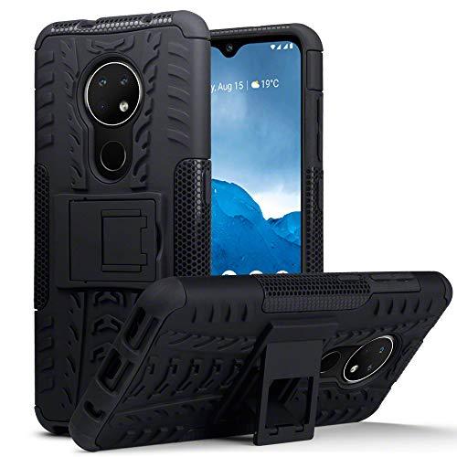 TERRAPIN, Kompatibel mit Nokia 6.2/7.2 Hülle, TPU + PC Schutzhülle mit Standfunktion Tasche - Schwarz