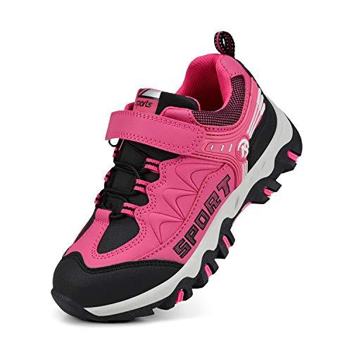 Biacolum Kids Shoes Hiking Waterproof Athletic Running Sneakers for Boys Girls Black/Pink 1 M US Little Kid