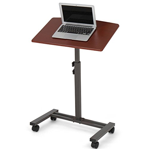 Miadomodo Tavolino tavolo per PC portatile notebook mobile con 4 ruote 60/40/74,5-93,5 cm