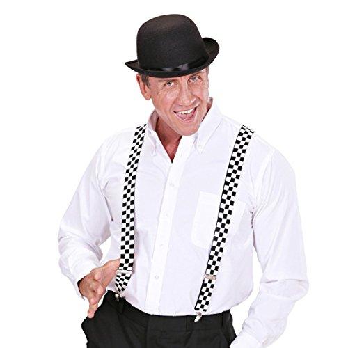 NET TOYS Karierte Hosenträger Schachbrett Bundhalter Y-Form Hosen Träger Rockabilly Hipster Punk Ska Hosenhalter 50er Jahre Kostüm Accessoire Outfit