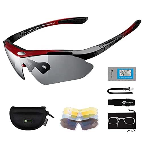 Occhiali da Sole Ciclismo per Bicicletta 5 Lenti Intercambiabili Occhiali Polarizzati Sportivi Anti-UV 400 Ultraleggeri Uomo Donna Unisex per Ciclismo Corsa Pesca Guida