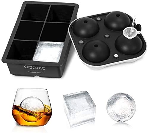 Ice Cube Trays Adoric Life Ice Tray Silicone Set of 2 with Funnel Sphere Ice Ball Maker and product image