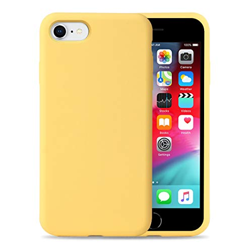 Liquid Silicone Phone Case for Apple iPhone SE2 / 7/8 /Full Body Protection/Shockproof/Gel Rubber/Cover Case Drop Protection Yellow