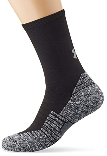 Under Armour Run Cushion Crew Calcetines Transpirables, Unisex, Black/Pitch Gray/Reflective (003), SM