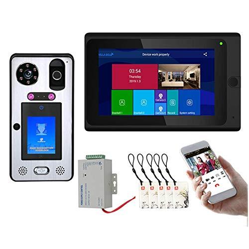 Timbre de video Wifi, Intercomunicador inalámbrico de videoportero con monitor y cámara, Reconocimiento de rostros Tarjeta de acceso de huellas digitales Desbloqueo de APP para iOS Android