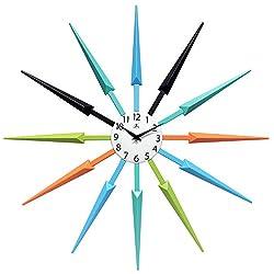 Infinity Instruments Celeste Multi-Color Mid Century Starburst Wall Clock, 25 inch, Multicolored