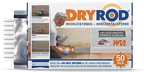 Dryrod Hochleistungs - Horizontalsperre - Stäbchen zur Abdichtung des Mauerwerks - WTA Zertifiziert (50 Stäbchen). Ergiebigkeit - bei 115mm Wandstärke > 10m Länge; bei 230mm Wandstärke > 6m Länge.