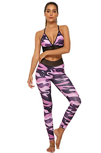 BLOSSOMLIFE Damen Camouflage Print Zweiteilige sexy Yoga-Sets Leggings mit hoher Taille Mesh Cutout Cropped Tops 2PCS Outfits Trainingsanzüge (Pink,Medium)