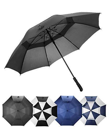 LANBRELLA Golf Umbrella Windproof Large 68 Inch Stick Umbrella Double Canopy Vented Automatic Open for Men and Women - Black