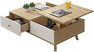 FJFZDZ Double Layer Storage Coffee Table, Garden Activity Computer Hardwood Table, Parlor Multifunction Privacy Cocktail Tabl