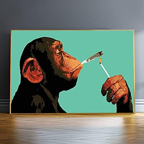 Dibujos animados fumar orangután mono lienzo pintura carteles e impresiones pared arte cuadros para sala de estar decoración del hogar Cuadros 50x70 CM (sin marco)