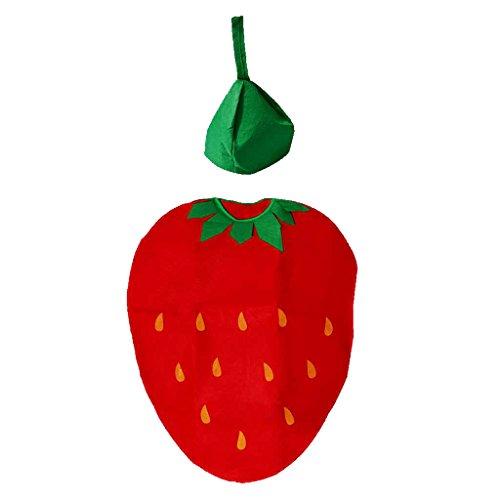 Gazechimp Traje de Niños Diseño con Fruta con Sombrero Ropa de Grupo de Escuela para Chicos Carnaval Melocotón/Sandía/Pera/Fresa - Fresa, Fresa