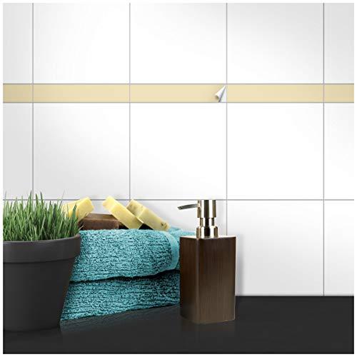 Wandkings Fliesenaufkleber - Wähle eine Farbe & Größe - Beige Seidenmatt - 5 x 20 cm - 20 Stück für Fliesen in Küche, Bad & mehr