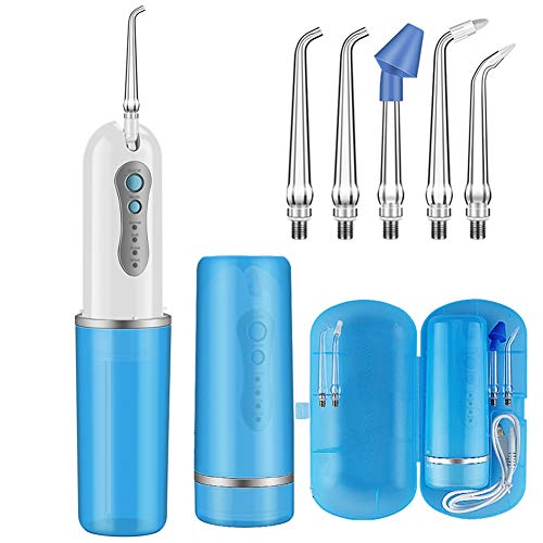 KOOVON Cordless Water Flosser, Upgraded Portable and Rechargeable Cordless Oral Irrigator with 5 Jet Tips, IPX7 Waterproof Water Dental Flosser with 4 Modes for Travel Home Office, 240ML