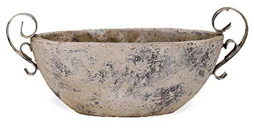 matches21 Jardiniere Henkel Blumentopf Keramik Antik Shabby Vintage beige Pflanzschale Pflanzgefäß 1 STK - 34x14,5 cm