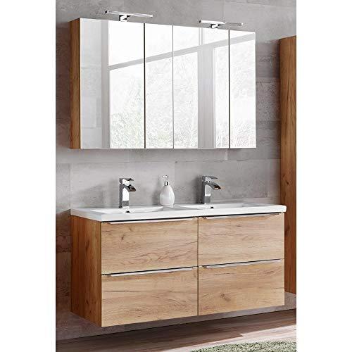 Lomadox Komplett Badmöbel Set mit 2 Spiegelschränken und Doppel-Waschtisch 120cm aus Keramik, Wotaneiche & Hochglanz weiß, Breite 120cm