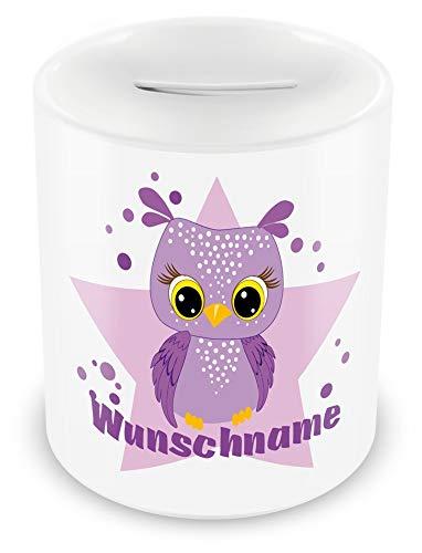 Samunshi® Kinder Spardose mit Namen und Lila Eule als Motiv für Kinder - Jungen und Mädchen Sparschwein weiß