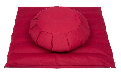 Handelsturm Bovete-meditationsset: Zafu kudde + Zabuton-matta, med avtagbart bomullsskydd (rött)....